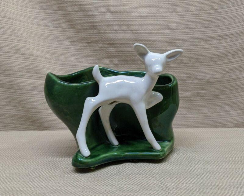 Vintage Mid Century Modern Art Pottery Fawn Deer Planter White & Green
