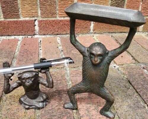 2 piece Vintage Brass Monkey Business card/pen holder desk set