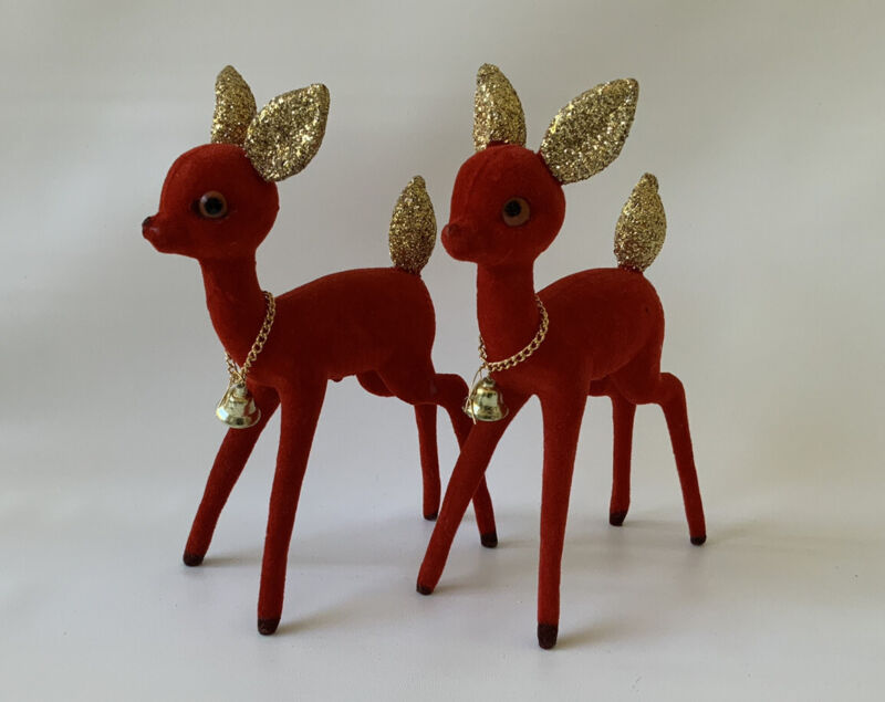 1960s Vtg Red Flocked Plastic Reindeer Deer Bell Christmas Rudolph Gold Glitter