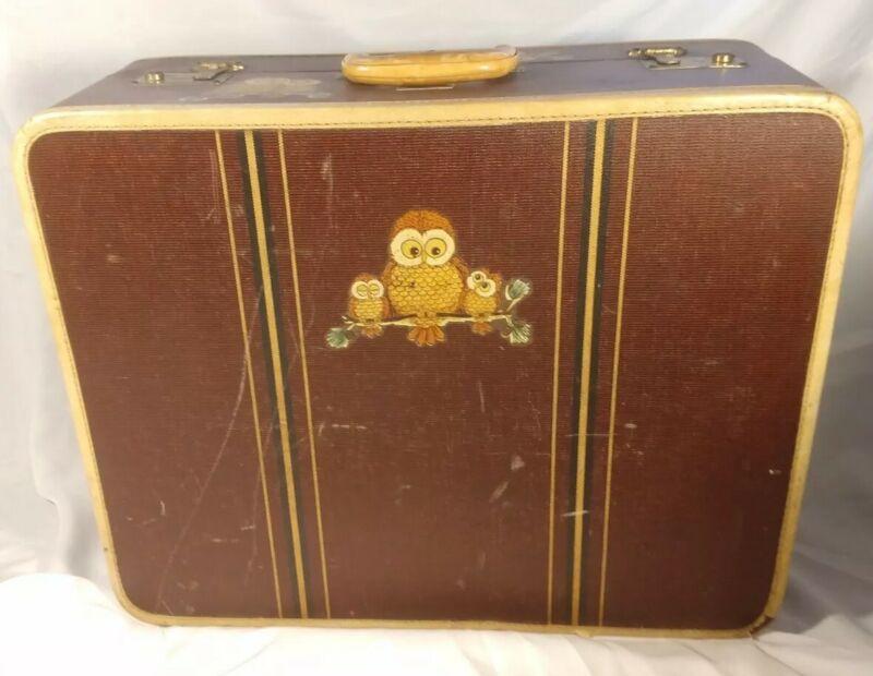Vintage OSHKOSH with CUTE OWLS Travel Trunk Luggage Chest Trunk Suitcase