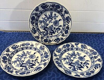 """3 Antique Meissen England Dinner Plates 9 1/2"""" Blue Onion Pattern Crown Mark"""