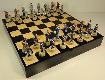 16 Wood Chess - US Civil War Chess Set BLACK & MAPLE WOOD STORAGE board 16