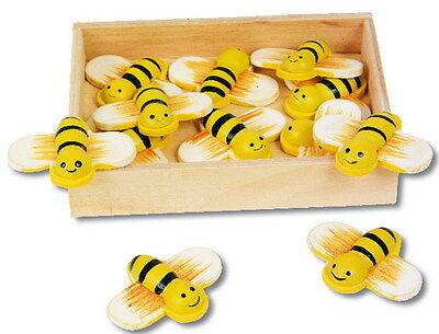 12 süße Deko Bienen aus Holz mit Klebestreifen zum Basteln und Dekorieren