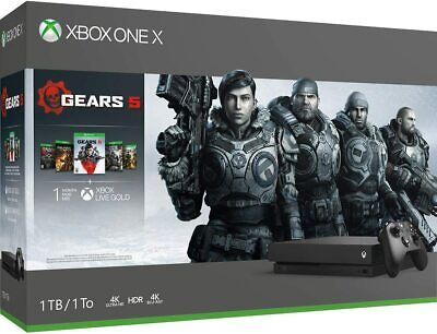 New Microsoft CYV00321 XBox One X 1TB Video Game Console with 5 Games - Black
