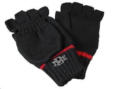 Billionaire Mafia Classic Black Knit Fingerless Gloves w Mitten