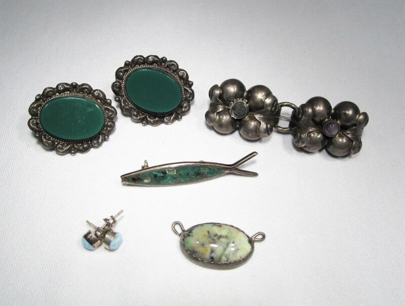 Vintage Mexico Sterling Silver Jewelry Lot C2841