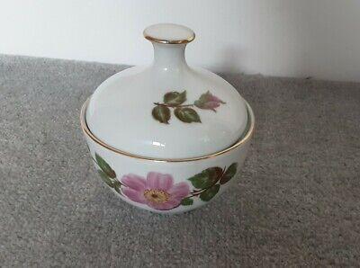 Vintage Kahla GDR Porcelain Lidded Sugar Dish Pink Rose / Flower