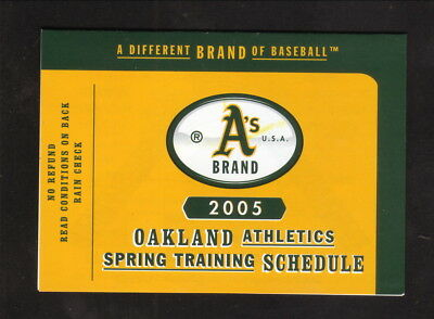 Oakland Athletics  2005 Spring Training Pocket Schedule  Southwest Air