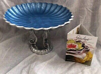 Julia Knight Sea Horse Pedestal Bowl Blue Enamel Scalloped Edge Vintage