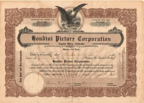 Houdini Picture Corporation - hand signed by the magician 1921