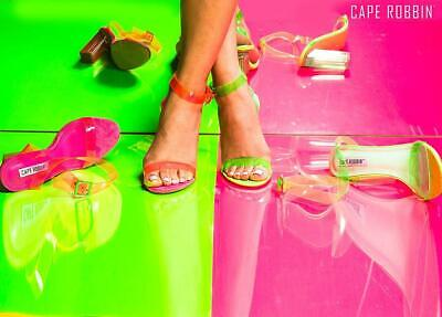 Reality - Cape Robbin Neon Strappy Ankle Buckle Clear Block