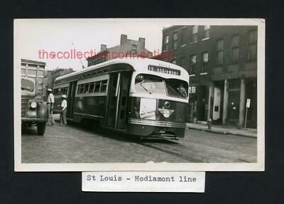 Vtg 1940s Snapshot Photo ST LOUIS Missouri Franklin Ave Streetcar HODIAMONT LINE