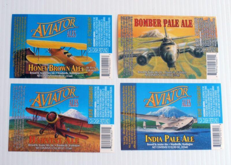 4 Vintage 1990s AVIATOR  Ale  Beer Labels