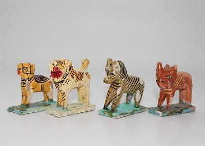 4 antike Zoo Tiere, Masse 19 Jhdt., Zebra , Löwe   #G698