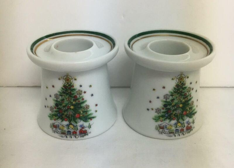 """2 Vintage Christmas Eve Candle Holders Fine Porcelain 2"""" Tall Made in Japan"""