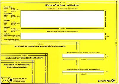 Postschablone Formatschablone Briefschablone Mess-Schablone Portoschablone