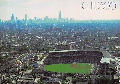 1988 Wrigley Field with SKYLINE Chicago by David Maenza AERIAL 4.5x6.5 postcard