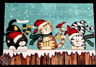 Christmas Hats With Lights (Cute Kittens Cats Fence Lights Scarves Hats Bird - Christmas Greeting Card -)