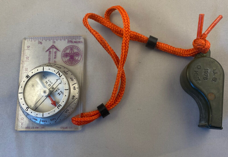 Vintage Boy Scouts of America Metal/ Plastic Compass Silva USA BSA & Whistle