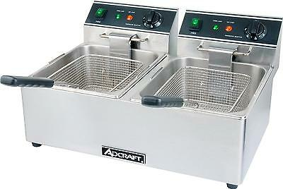 Adcraft Df-6l2 Electric Counter Top Deep Fryer Dual Pot 15lb Per Pot