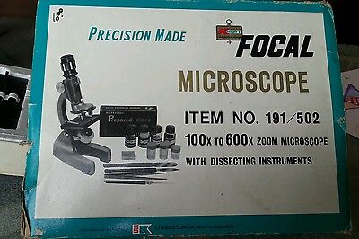 Vintage Focal Student Microscope Precision Made 100 To 600 Zoom