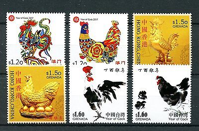 Grenada 2017 MNH Year of Rooster 6v Set Chinese Lunar New Year Stamps