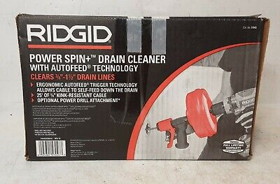 Ridgid Powerspin Plus Ergonomic Snake Auger Drain Cleaner With Autofeed O