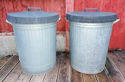 Two Vintage Galvanised Steel Dust Bins