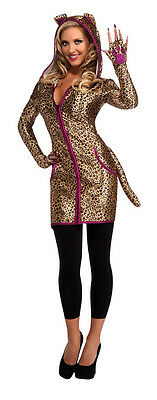Womens Leopard Halloween Costume (Hooded Leopard Dress Costume Halloween Cat Tail Pink Trim Adult Womens Ladies)
