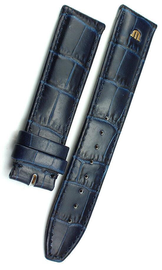 20mm /18 MAURICE LACROIX dunkelblau Band  Uhrenarmband Strap Alligator Narbung