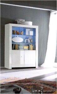 Credenza madia vetrina moderna laccata bianco lucido for Credenze moderne mondo convenienza prezzi