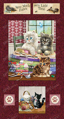 Krafty Kittens Fabric Panel Cute Cats Patchwork Quilting Sewing