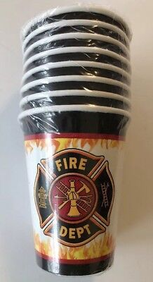 Fire Watch Truck Engine Firefighter Kids Birthday Party Paper Beverage Cups - Fire Engine Party