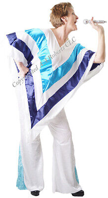 60's 70's-GLAM ROCK-DANCING QUEEN Poncho & Flares Fancy Dress Set - All Sizes