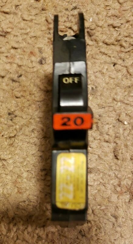 "Federal Pacific Electric NC120 1p 20a Thin Stab-lok 1/2"" Red Circuit Breaker"