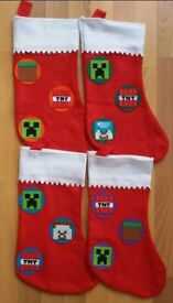 Various Handmade Minecraft Christmas Stockings