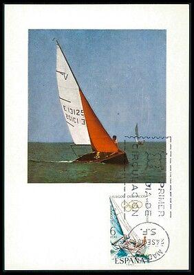 SPAIN MK 1968 OLYMPICS OLYMPIA SEGELN SAILING CARTE MAXIMUM CARD MC CM bf92