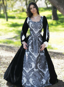 Silver w/black VELVET REGAL RENAISSANCE COSTUME DRESS S M L XL