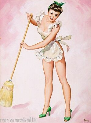 1940s Pin-Up Girl The Cleaning Lady Picture Poster Print Art Pin Up