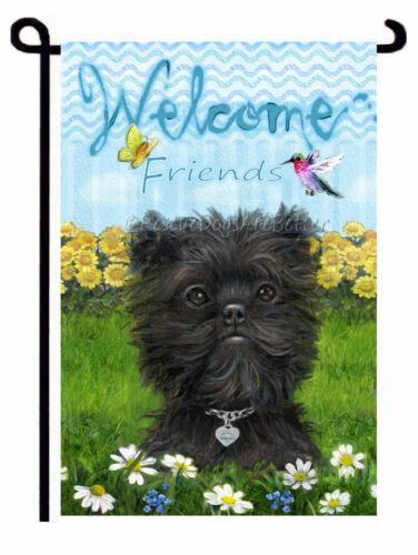 AFFENPINSCHER GARDEN FLAG Welcome hummingbird DOG painting boutique quality ❤️