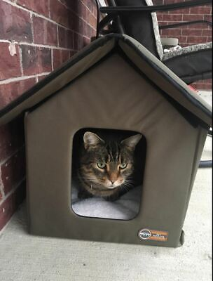 KH Outdoor Heated Weatherproof Insulated Pet Kitty Bed Shelter