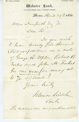 1860 Letterhead   Letter Webster Bank Of Boston Ma