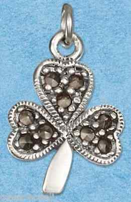 SHAMROCK MARCASITE sterling silver charm pendant