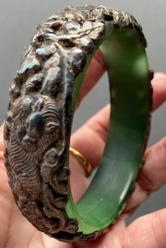 Vintage Chinese Silver Jade Bangle Bracelet with Carved Animals