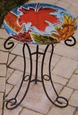 "Bird Feeder Bath Falling Leaves Glass NEW with metal stand large 16"" in diameter"