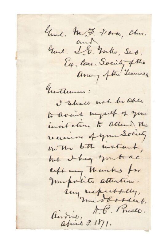 Don Carlos Buell - Civil War General 1871 Autographed Letter - Authentic!