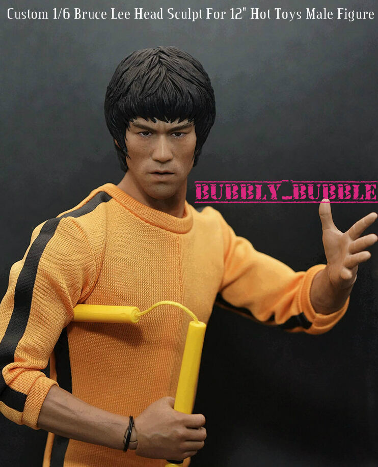 "Custom Bruce Lee 1//6 Male Head Sculpt For 12/"" Phicen Figure Body Game of Death"