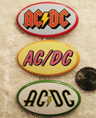 Ac Dc Band PIN BUTTON LOT 3 Oval Logo Rare Bon Scott Angus Young Metallica