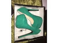 Green limited edition boohoo heels