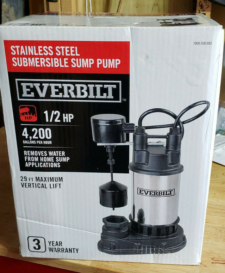 Everbilt 1/2 HP Submersible Stainless Steel Sump Pump